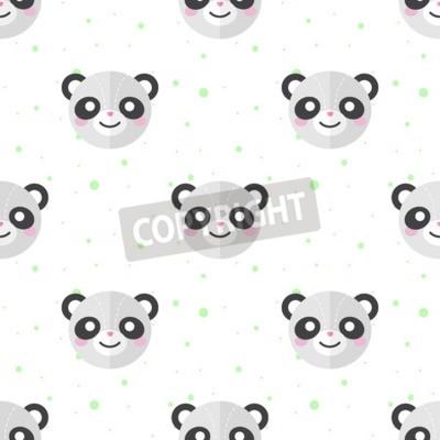 Fototapet Vector roliga platt tecknad panda huvuden seamless. Panda bakgrund.