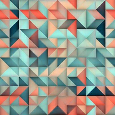 Fototapet Vector Seamless Blå Rosa Gradient Triangle Oregelbunden Grid Square Pattern