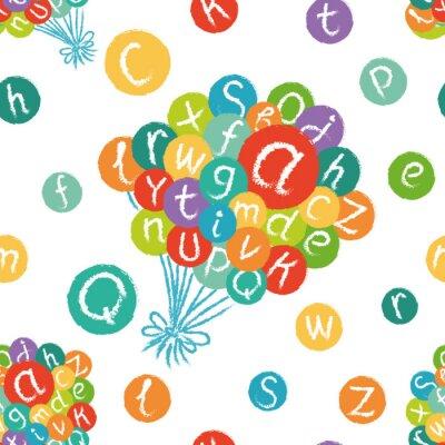 Fototapet Vector Seamless - rolig engelska alfabetet. Handritad krita som bokstäverna i färgrikt cirklar.
