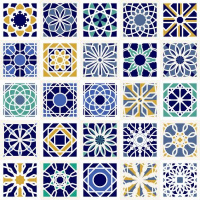 Fototapet Vector Set med geometriska mönster
