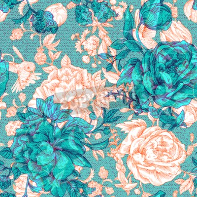 Fototapet Vector vintage pattern with roses and peonies. Retro floral wallpaper, colorful backdrop