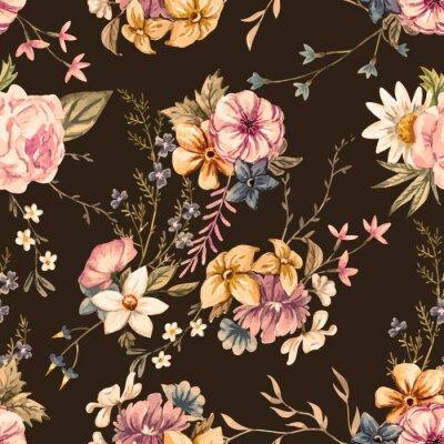 Fototapet Vektor akvarell blommönster