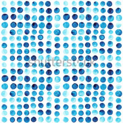 Fototapet Vektor akvarell cirklar sömlösa mönster (kaklade). Retro handgjorda cirklar prydnad. Runda tidigare mönster. Runda före detta. Målad prydnad. Grunge färgrika runda former.