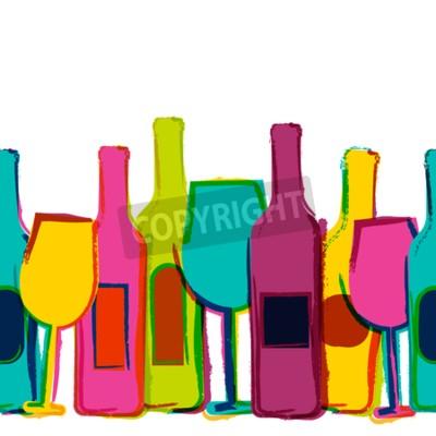 Fototapet Vektor akvarell sömlösa bakgrund, färgstarka vin flaskor och glas. Koncept för bar meny, parti, alkohol drycker, semester, vinlista, flygblad, broschyrer, affischer, banderoll. Kreativa trendig design