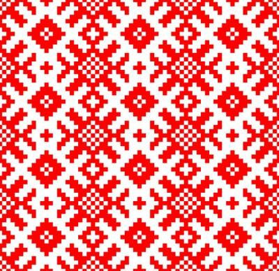 Fototapet Vektor bakgrund. Seamless mönster slaviska broderi. Yarilo motiv - Stockvektor