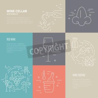 Fototapet Vektor begreppet vinframställningen med olika vinindustrin symboler inklusive glas, druva, flaska, corckscrew med exempeltext. Perfekta bakgrunden för vin relaterad design.
