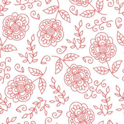 Fototapet Vektor blommor och blad seamless. Klotter söta blommor.