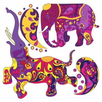 Fototapet Vektor dekorerade indiska elefant