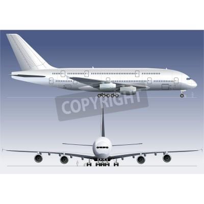 Fototapet Vektor dubbeldäckat lagest Jetliner A380