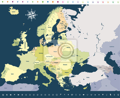 Karta Europa Tidszoner.Vektor Europa Hog Detaljerad Politisk Karta Med Platsikoner Pa
