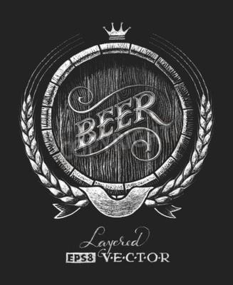 Fototapet Vektor fat öl ritas på tavlan. RGB. En global färg. Gradienter fria. Varje element är grupperade separat