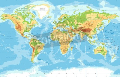 Fototapet Vektor fysisk världskarta