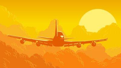 Fototapet Vektor illustration av himmel och moln med flygningar.