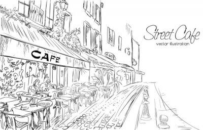 Fototapet Vektor illustration av street cafe