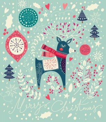 Fototapet Vektor Jul illustration med söta rådjur