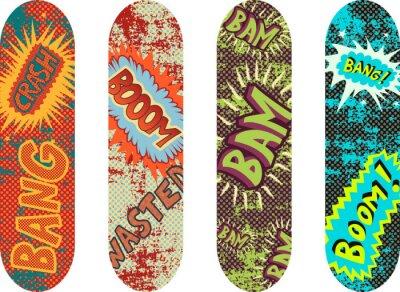 Fototapet Vektor skateboard design pack med tecknad stil effekter