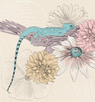 Fototapet vektor skiss av ödla med söta blommor