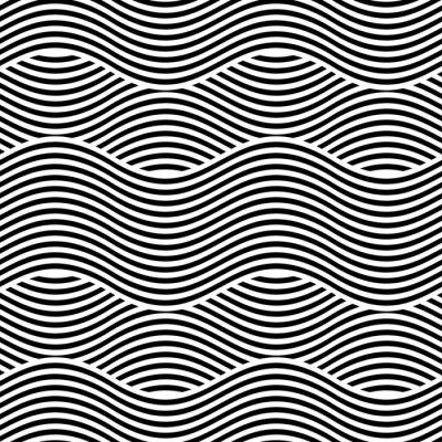 Fototapet Vektor smidig konsistens. Modern geometrisk bakgrund. Upprepande mönster med vågiga linjer.