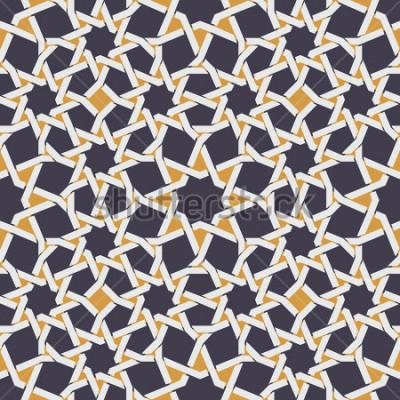 Fototapet Vektor sömlös islamisk stjärna linje i gul och blå geometrisk mönster abstrakt bakgrund