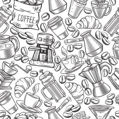 Fototapet Vektor sömlös mönster kaffe design med skiss koppar, varma drycker, franska press, brygger för menyn café.
