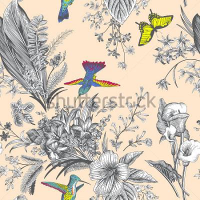 Fototapet Vektor sömlös vintage blommönster. Exotiska blommor och fåglar. Botanisk klassisk illustration. FÄRGRIK