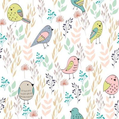 Fototapet Vektor sömlösa mönster med fåglar och blommor