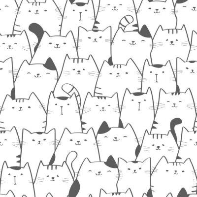 Fototapet Vektor sömlösa mönster med söta katter. Doodle art. Katt sömlös handritad bakgrund