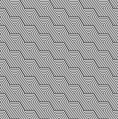 Fototapet Vektor sömlösa mönster. Modern elegant struktur. Monokrom geometriskt mönster med hexagonala brickor.