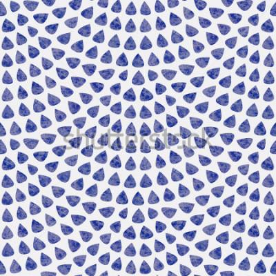 Fototapet Vektor sömlöst mönster med fisk skala layout. Blå droppformade element med akvarellstruktur på ljusgrå bakgrund