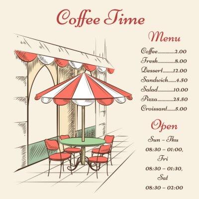 Fototapet Vektor street cafe affisch