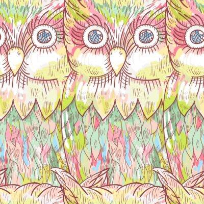 Fototapet Vektor uggla seamless. Abstrakt söt fågel bakgrund.