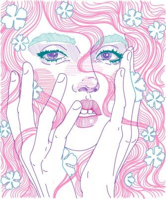 Fototapet vektor vacker flicka ansikte närbild full ansikte med rosa hår och känsliga blommor i frisyr, håller händer för ansikte