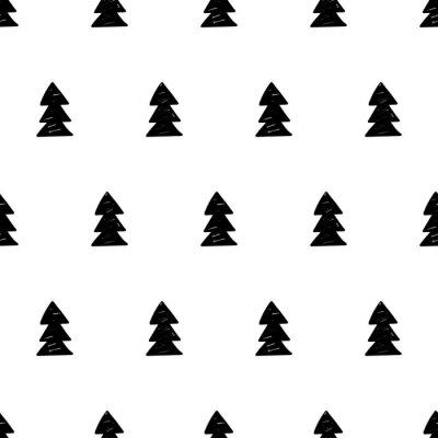 Fototapet Vektor xmas mönster med julgranar. Skandinavisk stil.