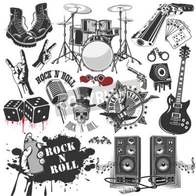 Fototapet Vektorbilden av uppsättning vektor symboler relaterade till rock and roll