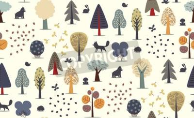 Fototapet Vektoren illustreras sömlöst mönster av plana skogsdelar - olika träd, vilda djur och frön.