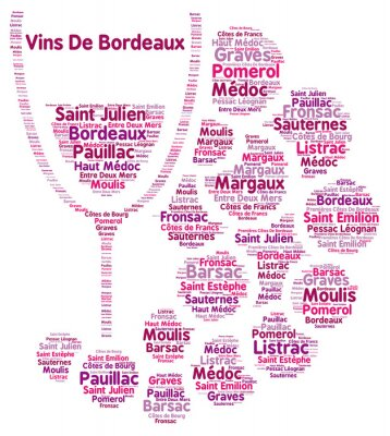Fototapet Vin från Bordeaux ord moln