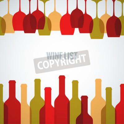 Fototapet vin glasflaska konstbakgrund
