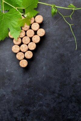 Fototapet Vin korkar druva form och vinstockar