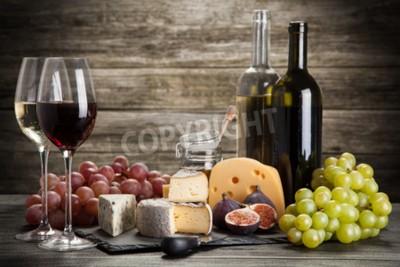 Fototapet Vin och ost stilleben