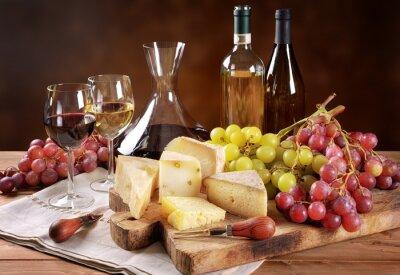Fototapet Vin, vindruvor och ost