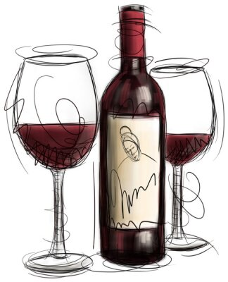 Fototapet Vinflaska och glas