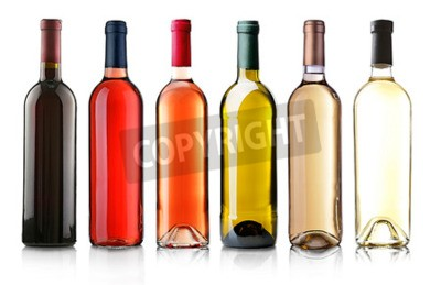 Fototapet Vinflaskor i rad isolerad på vitt