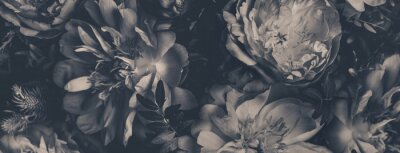 Fototapet Vintage bouquet of peonies. Floristic decoration. Floral background. Black and white baroque old fashiones style image. Natural flowers pattern wallpaper or greeting card
