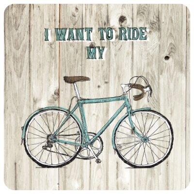 Fototapet Vintage bycicle handritad affisch