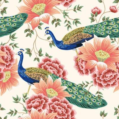 Fototapet Vintage Chinese flower lotus rose, leaves, peacock bird seamless border pink background. Exotic oriental wallpaper.