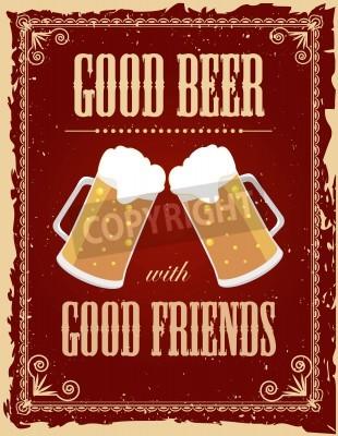 Fototapet Vintage öl affisch med grunge effekter.