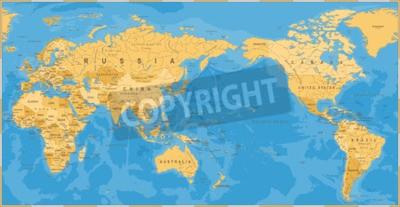 Fototapet Vintage politisk världskarta Pacific centrerad - vektor.