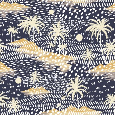 Fototapet Vintage seamless island pattern. Colorful summer tropical background. Yellow landscape with palm trees, beach and ocean. Flat design, vector. Good for textile, fabric, t-shirt, wallpaper, wrapping.