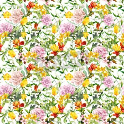 Fototapet Vintage summer flowers, leaves, herbs. Repeating floral background. Watercolor
