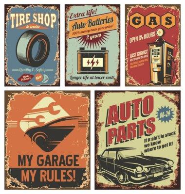 Fototapet Vintage taxitjänst tenn skyltar och affischer